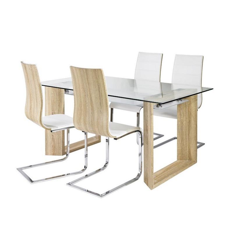 chaise design blanche et bois luge betty