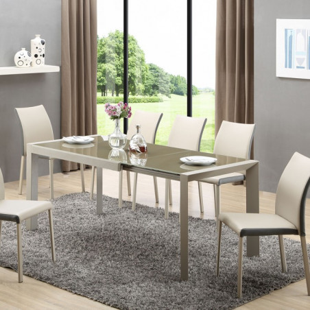 table a manger metal et verre marron valenta