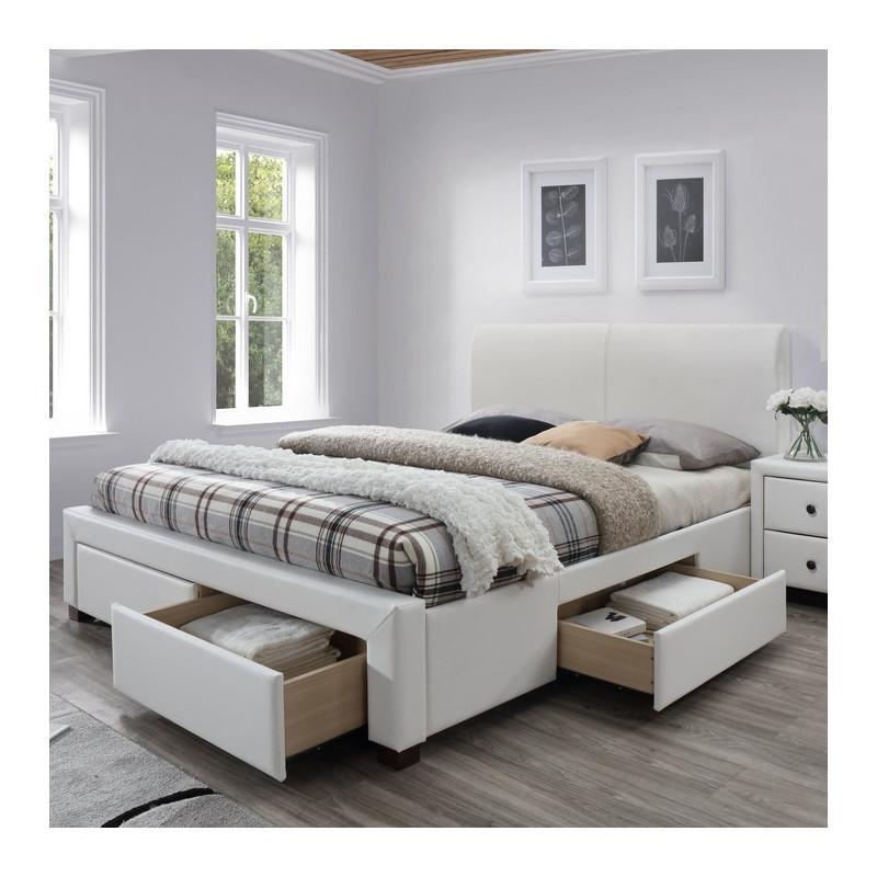 lit blanc avec sommier a lattes et tiroirs mariano