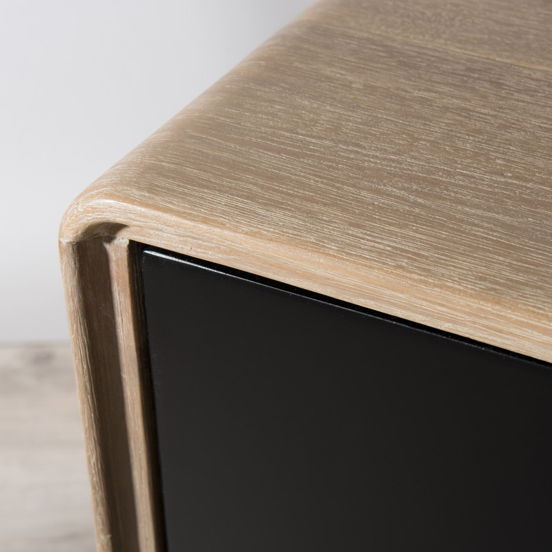 meuble tv industriel noir et bois olana
