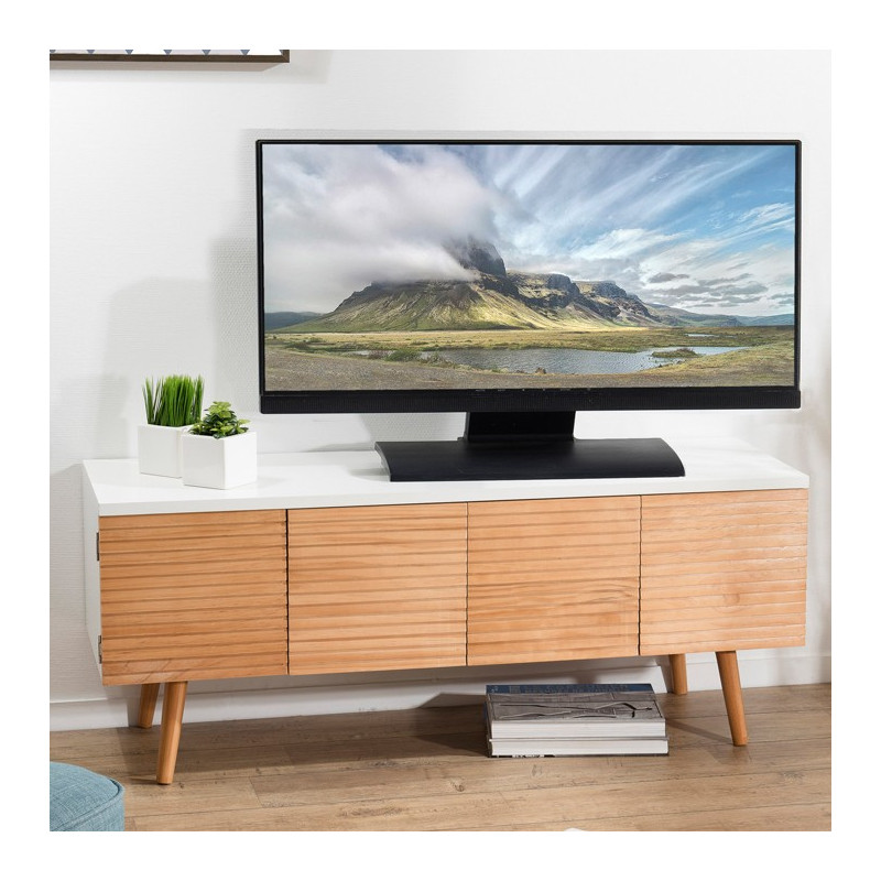 meuble tv scandinave bois et blanc ella
