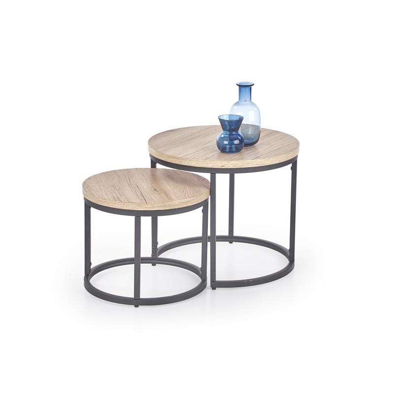 table gigogne bois et metal seven