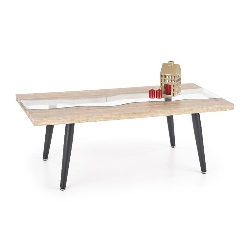 table basse design metal bois et verre solari