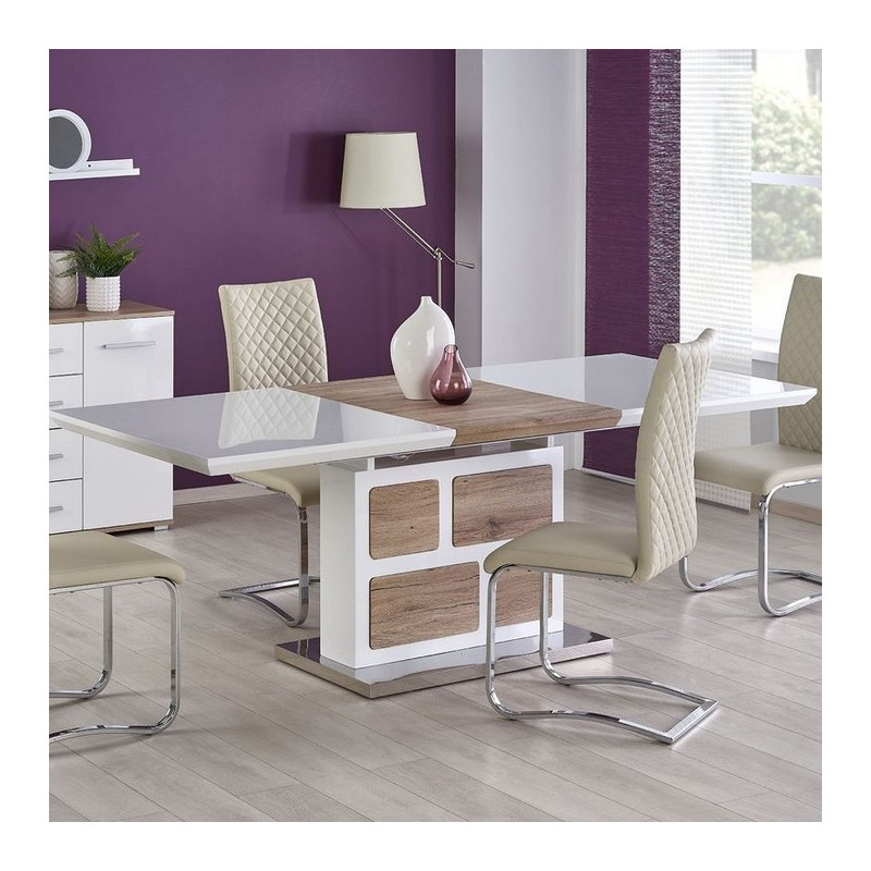 table a manger 160 220cm x 90cm bois et blanc laque sven