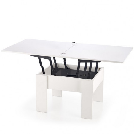 table basse extensible et relevable blanche 80x80cm wink