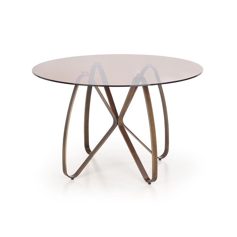 table design bronze et verre teinte mick
