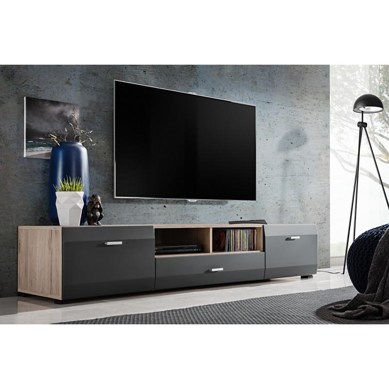 meuble tv gris mat et aspect chene zao