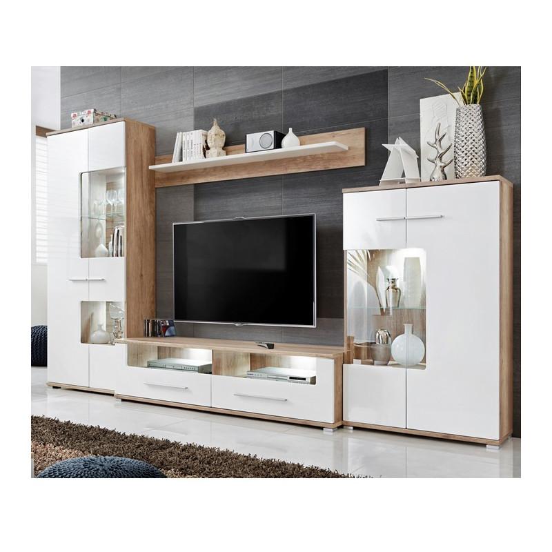 ensemble tv blanc brillant et aspect chene avec led eleganza 3