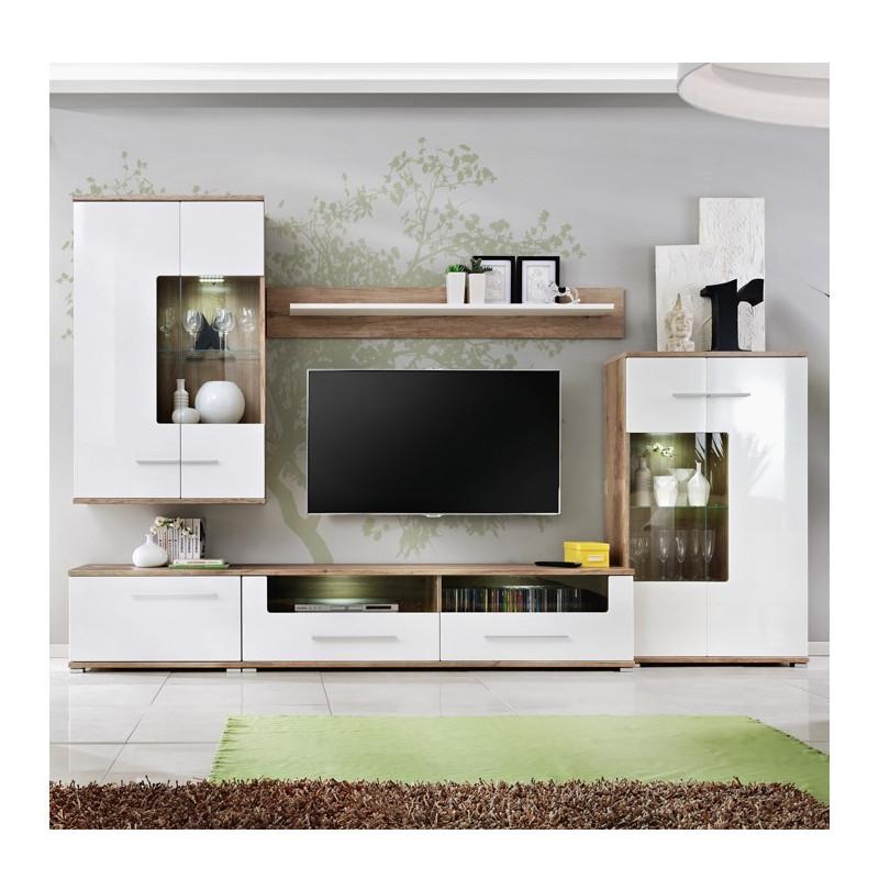 ensemble tv blanc brillant et aspect chene avec led eleganza