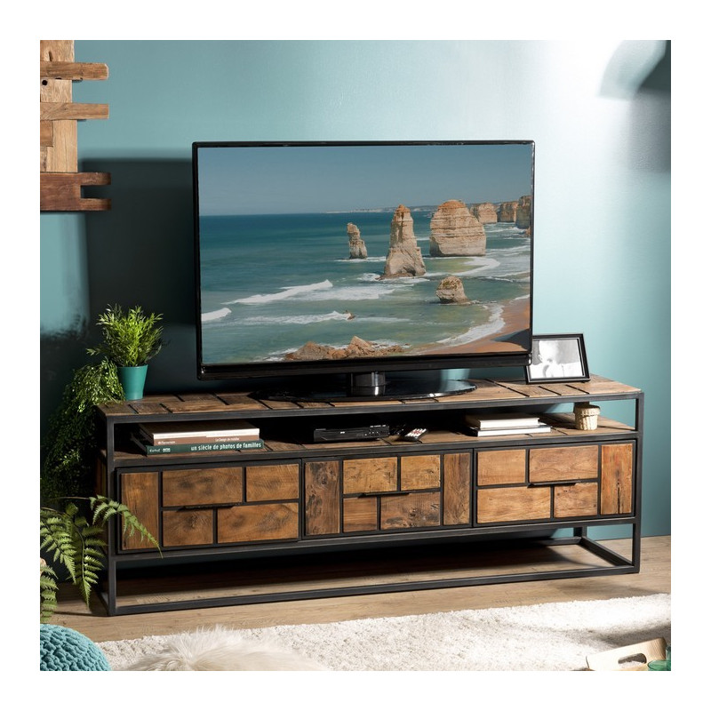 grand meuble tv industriel teck et metal 160x40cm tinesixe