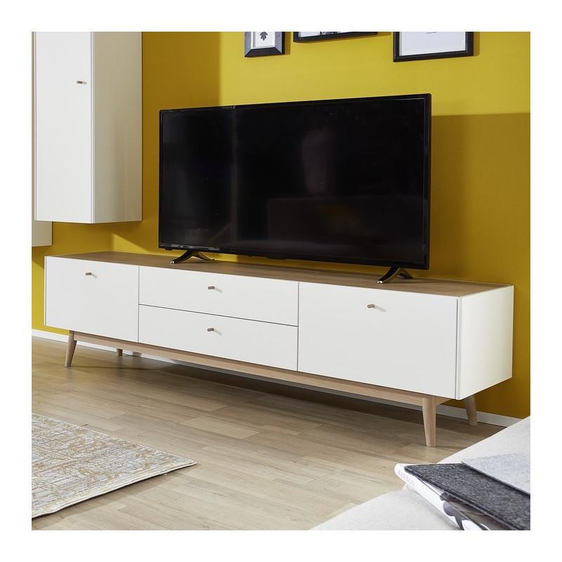 meuble tv scandinave blanc et bois clair heavy