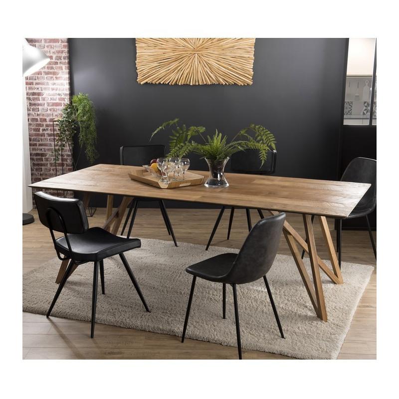 table a manger en bois massif 220x100cm nolwen