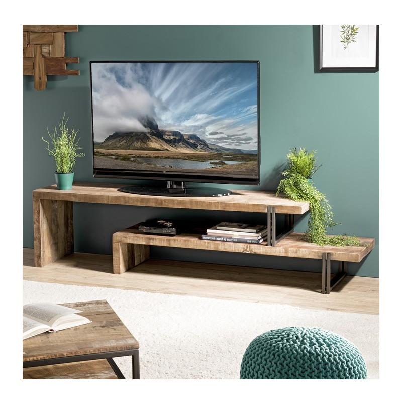 meuble tele banc design industriel 160x40cm tinesixe