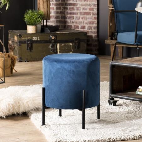 tabouret bas rond 35 cm bleu velours pieds metal noir bolero