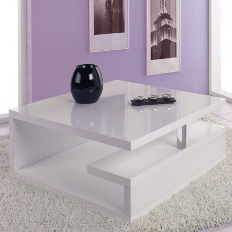 table basse sur roulettes laquee blanc giani