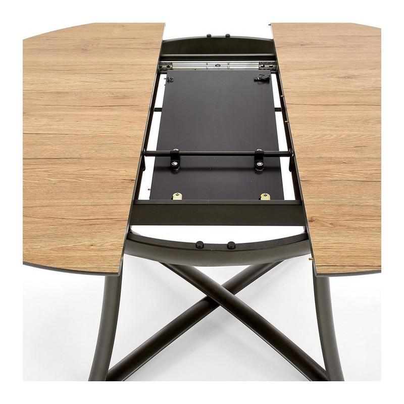 table de salle a manger ronde extensible aspect chene pieds acier steel