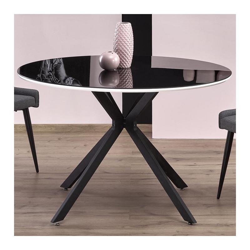 table ronde 120cm noir laque avec lisere blanc shiny