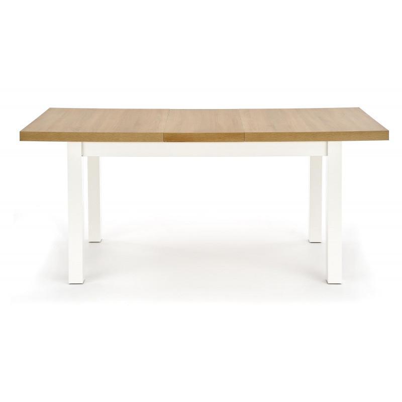 table rectangulaire extensible 140 220cm style chene et pieds blancs squirrel