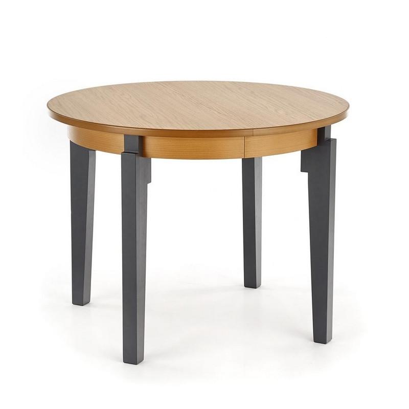 table ronde extensible plateau style chene avec pieds gris anthracite cox
