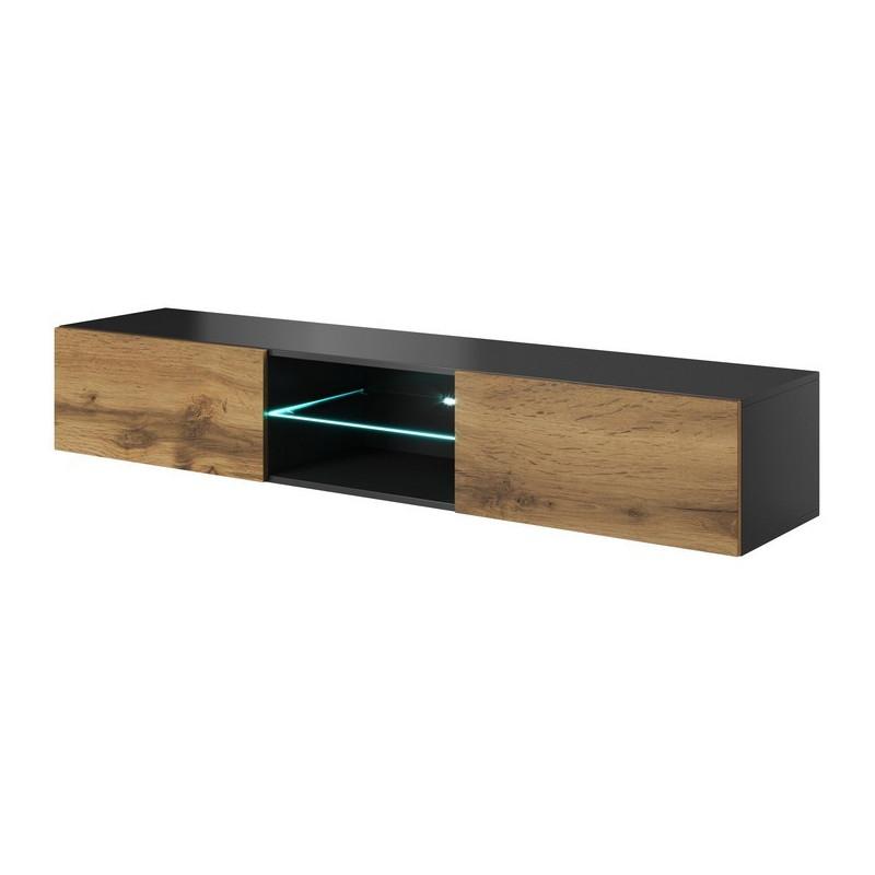 meuble tv suspendu chene et gris 180cm avec eclairage led trevise