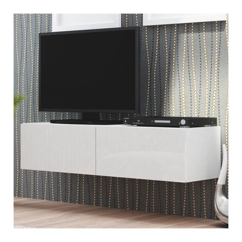 meuble tv a suspendre blanc brillant 160 cm trevise