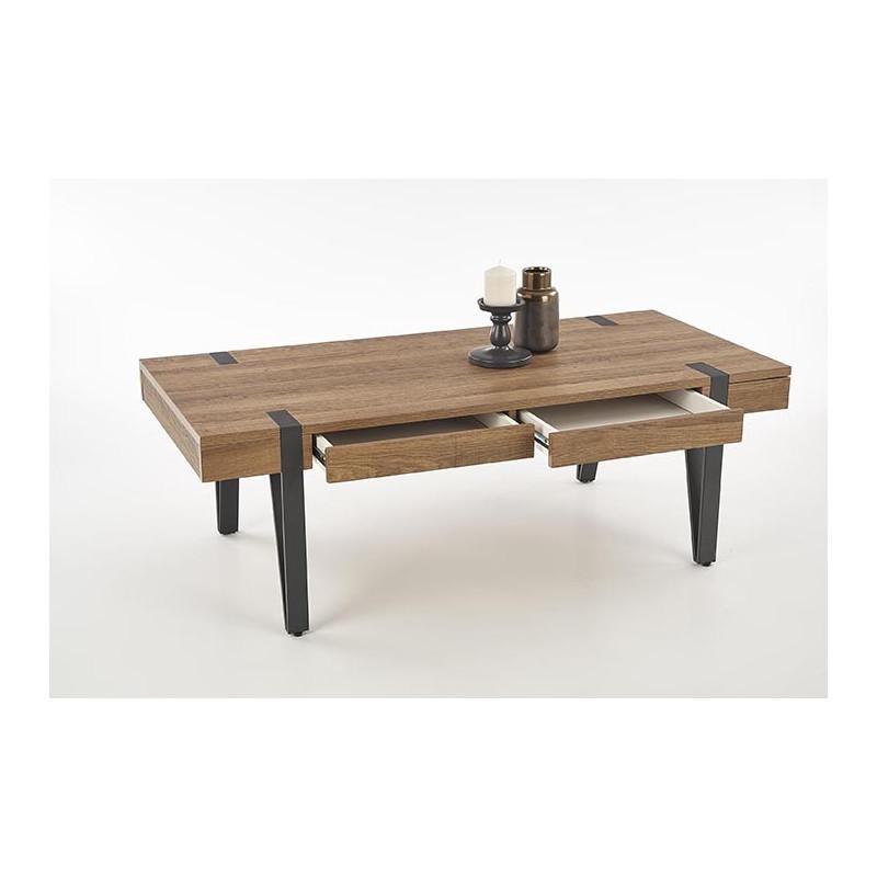 table basse industrielle a tiroirs belize