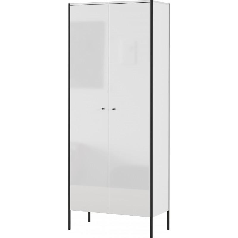 armoire penderie 2 portes blanc laque shine