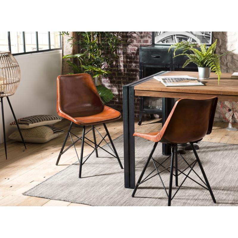 lot de 2 chaises avec assise en cuir marron et pieds metal noir rhodes