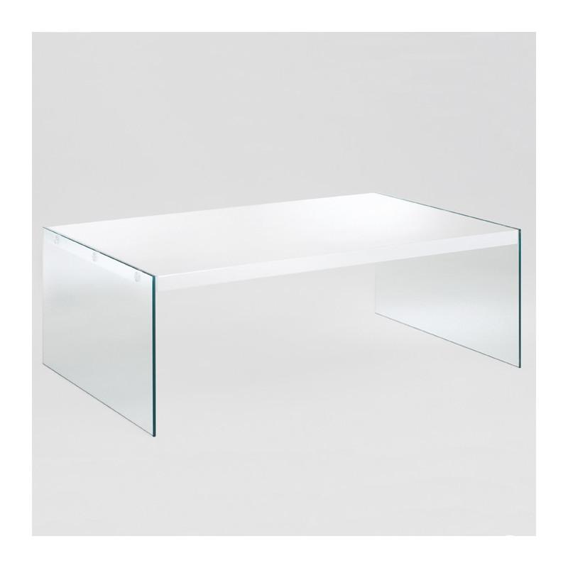 table basse rectangulaire en verre blanc laque athena