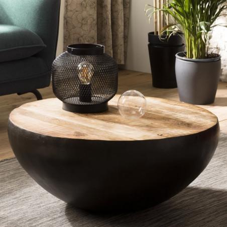 table basse ronde en bois de manguier et metal noir rhodes