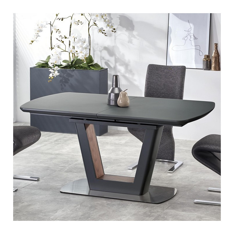 table a manger extensible 160 200 grise design bussy