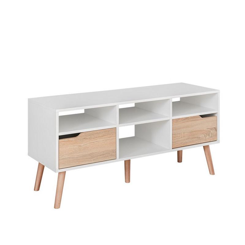 meuble tv blanc et style chene avec deux tiroirs et quatre niches de rangement finn