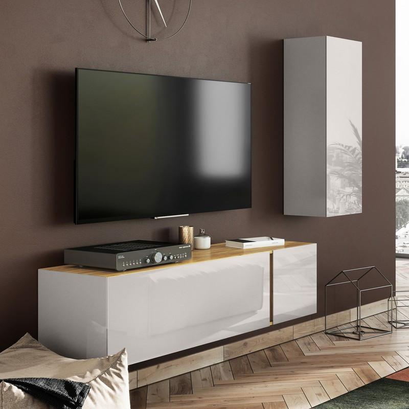 meuble tv scandinave avec facades en verre chloe