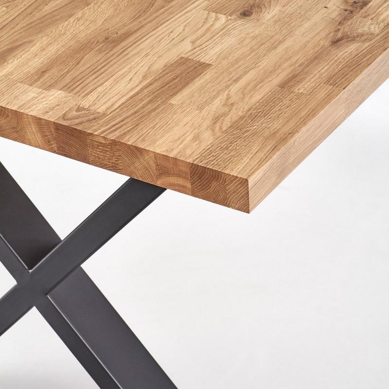 table a manger extensible en chene massif et metal 120cm vinus