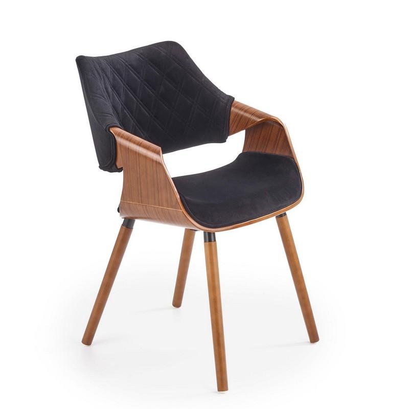 chaise design retro noir et bois melo