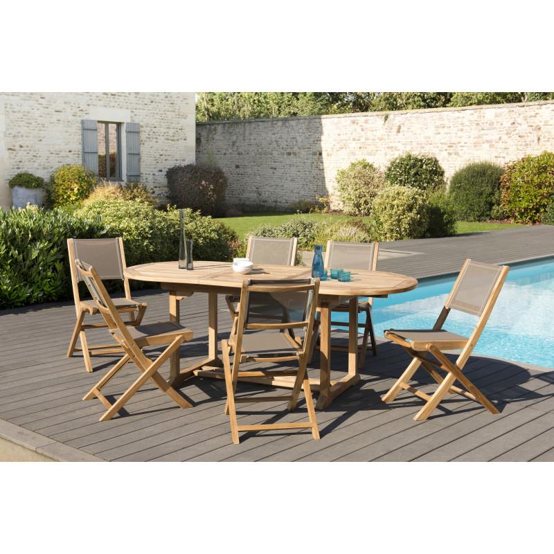 salon de jardin en teck avec table ovale a rallonge 6 chaises pliantes couleur taupe summer