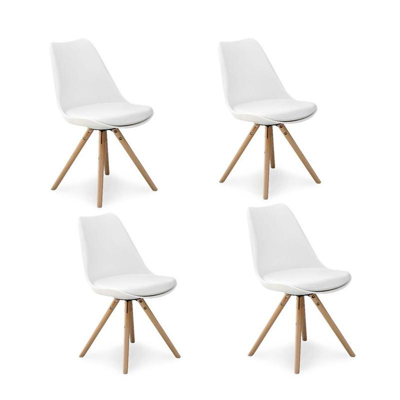 Chaises Scandinaves Design Pieds Bois Malmo Lot De 4