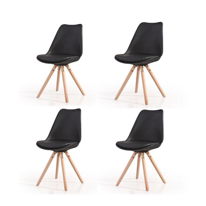 lot 4 chaises noires pieds bois hacken