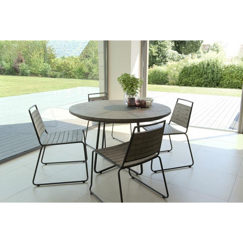 salon de jardin avec table ronde 6 chaises empilables en teck et acier citadine