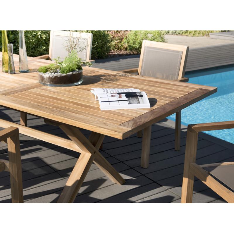 salon de jardin en teck 6 places table pieds croises extensible fauteuils empilables summer