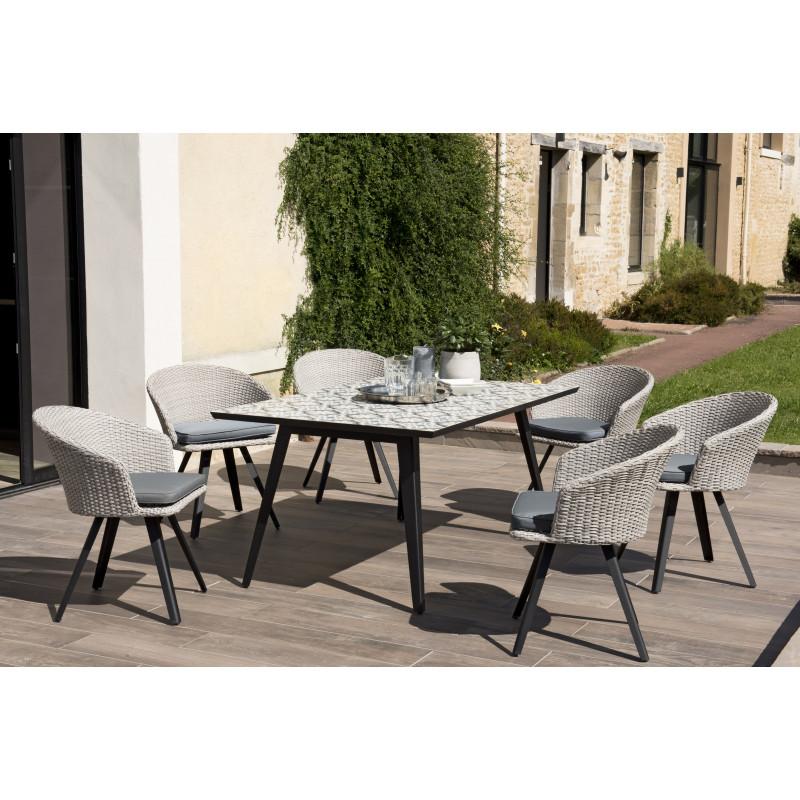 salon de jardin avec table en carreaux de ciment 6 fauteuils en rotin synthetique gris marrakech