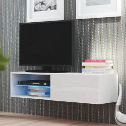 Meuble Tv Blanc Avec Eclairage Led Integre A Suspendre Dans Le Salon