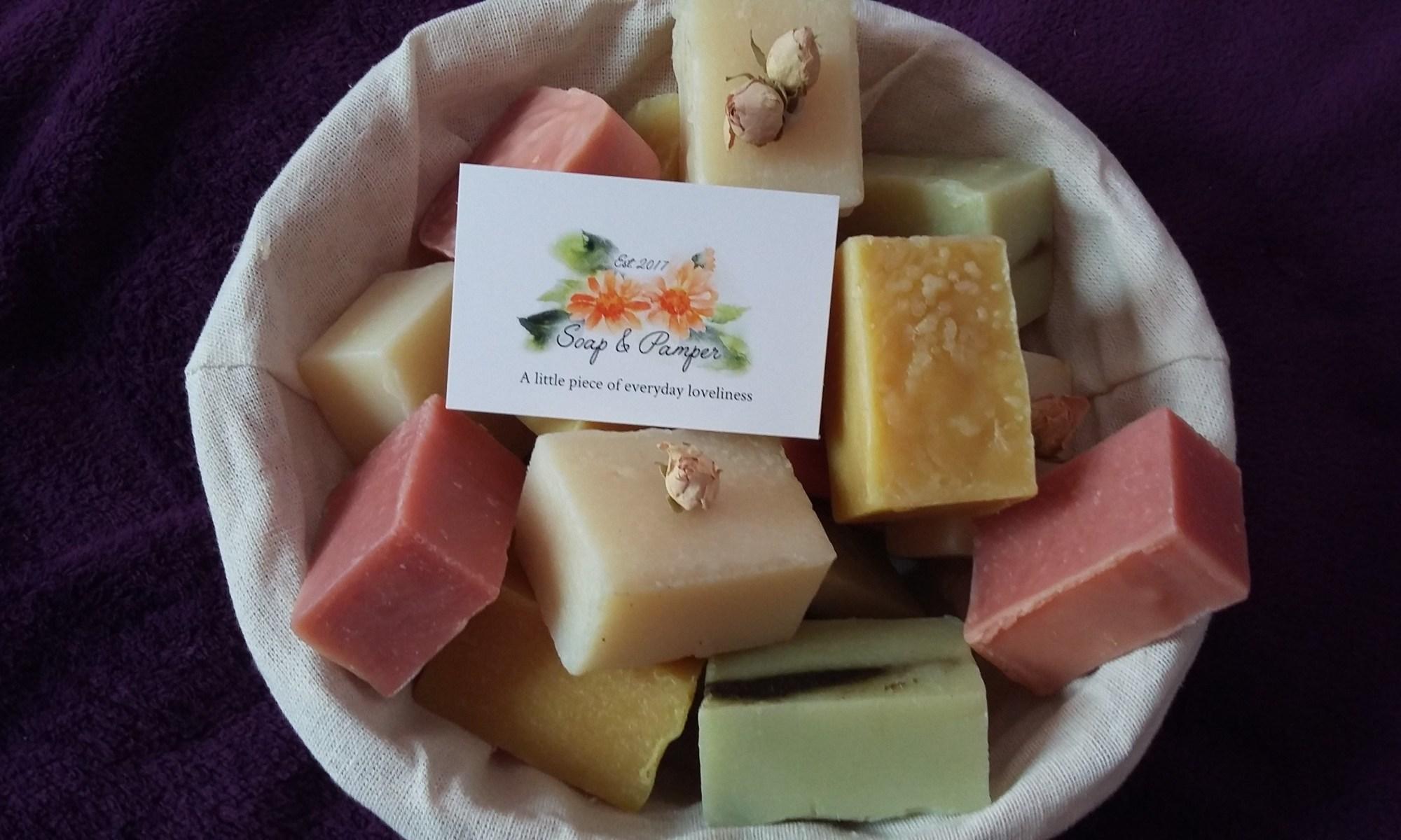 Basket of natural soaps