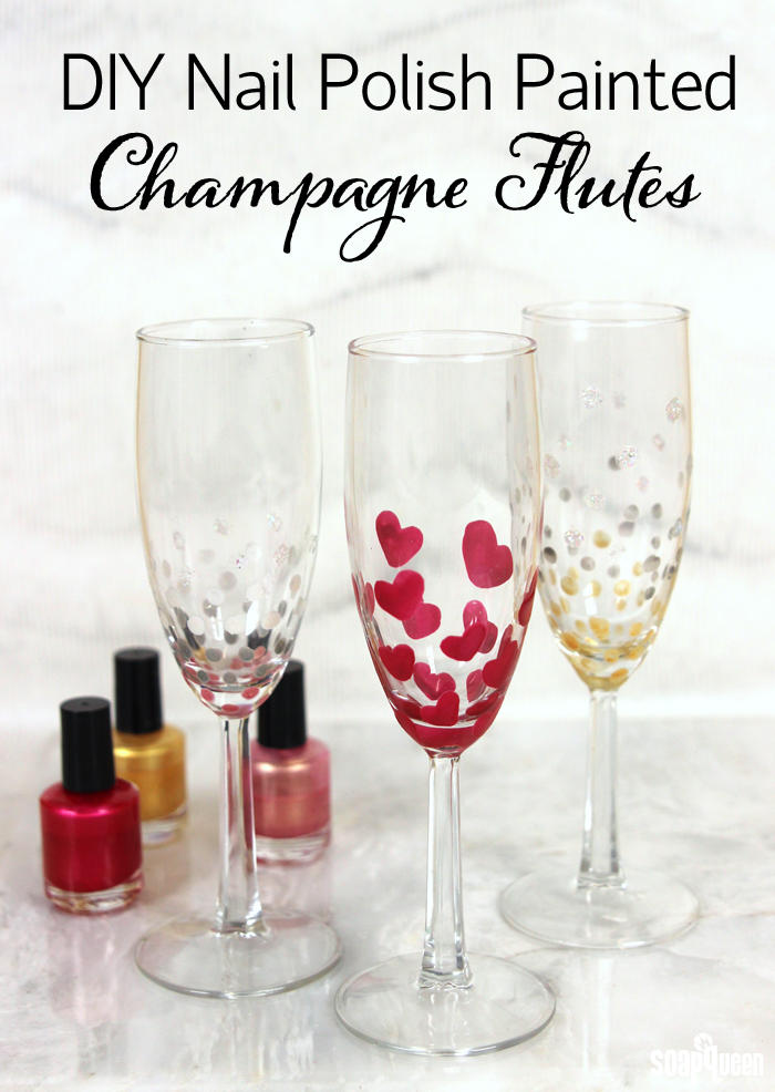 DIY Nail Polish Painted Champagne Flutes Soap Queen