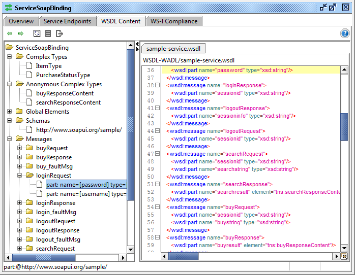 WSDL Content in SoapUI