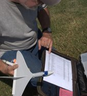 Jeff Coons consults his motor chart for his Estes SkyDart II