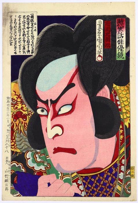 豊原国周「時代世話俳優鏡」ふか七/市川左團次 裏打有/KUNICHIKA TOYOHARA