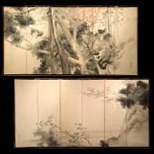 菊地芳文 紙地 水墨 「桜に月」図 「桜に鳩」図 六曲一双/KIKUCHI HOUBUN A pair of 6panel screen