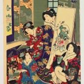守川周重/琴碁書画の図/MORIKAWA CHIKASHIGE
