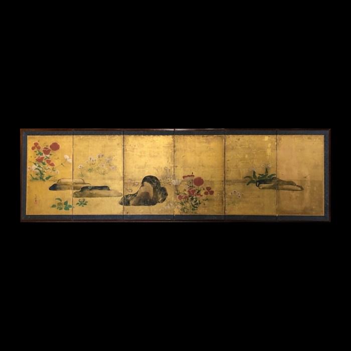琳派 芥子図・撫子図 六曲一隻/6panel screen